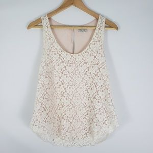 TALULA Cream Floral Lace Tank Top w/Pink Lining